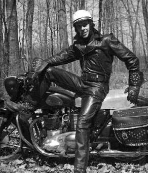 1940's black leather jacket circa 1956: gay biker in leather